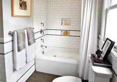 Laura Martin Bovard Interiors: Yellow and gray bathroom