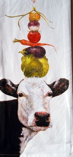 "Designer Vicki Sawyer Ida Cow 100% Cotton Dish Towel / Tea Towel, 18"" x 28"""