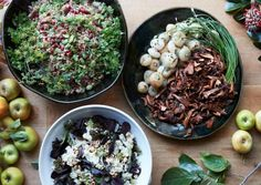"ood-table-west-elm: ""The menu, by Stacy Lauer and Gwendolyn Meyer for Saltwater, included farro salad with pomegranate and sausage, chanterelles, onions and sauteed greens and a cauliflower hazelnut salad."""