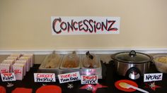 rock star party for boys | The menu consisted of: PopKorn, Cheezy Pretzellz,