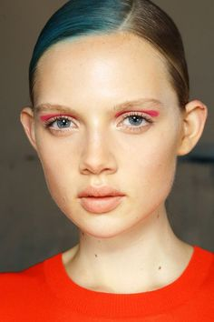 A statement swipe of colour in the crease and nude lips backstage at Gary Bigeni, M∙A∙C SS13 Sydney Fashion Week