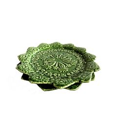 Vintage Bordallo Pinheiro Green Celery Carrot Cabbage Salad Dessert... ($20) ❤ liked on Polyvore featuring home, kitchen & dining and dinnerware