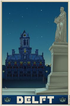 Travelposter of the city of Delft, the Netherlands - Stadhuis / Cityhall -