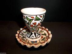 Vintage Turkish OTTOMAN Pottery EGG CUP And Saucer RARE