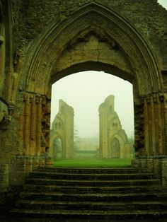 Glastonbury Abbey ruins in Glastonbury, Somerset, England