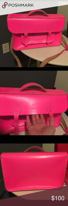 """The Cambridge Satchel 15"""" in Neon Pink Large Bag I got this beautiful bag 3 months ago, I wore it 2 times and got a lot of compliments. Now I'm selling it just because it is too big for me. It comes with dust bag and it has an embossing text ZOEY at the center of the bag! It has a little crash at the corner left of the bag! Cambridge Satchel Bags Crossbody Bags"""