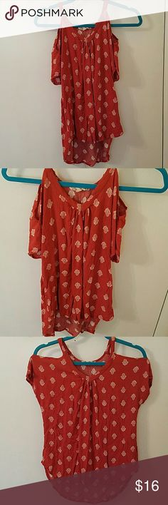 Off the Shoulder Blouse Whimsical off the shoulder blouse in coral. Never worn, other than to model, but washed.  Shoulders are narrow for a large. No Paypal, please. Fee free to make an offer! Pink Rose Tops Blouses