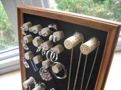 wine cork projects--wine cork jewelry organizer from crafts for all seasons