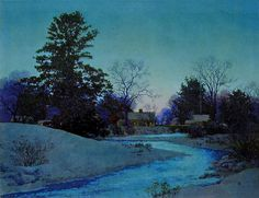 "https://flic.kr/p/iwTeZ9 | Maxfield Parrish ""Lull Brook Winter"" or ""Peace at Twilight"" 1945 