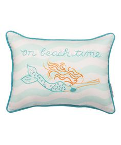 Look what I found on #zulily! White & Blue 'On Beach Time' Mermaid Throw Pillow #zulilyfinds
