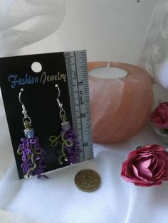 Hand tatted lace Wisteria earrings on silverplated hooks Hand Tats, Wisteria, Tatting, My Etsy Shop, Trending Outfits, Lace, Unique Jewelry, Handmade Gifts, Check