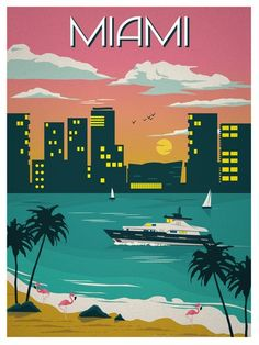 Image of Vintage Miami Travel Poster