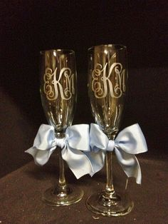 Personalized Wedding Champagne Flutes...Set of 2. $20.00, via Etsy.