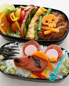 Cheddar skull and Spam mouse pirate bento. This is so creative!