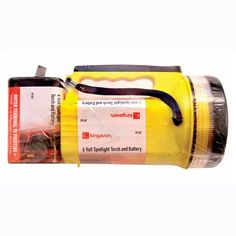6V spotlight torch and battery This impact & weather resistant, heavy duty 6 Volt spotlight torch comes with a super bright krypton bulb The outer terminal of the battery is positive +.