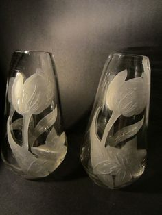 """Pair of Frosted Tulips cameo clear glass Legras vases are Signed in etch, Beautiful blown, aged, excellent with normal wear. They are Made in France. 8.5\"""" h. x 3\"""" x 2\"""". Research indicates: Legras,"""