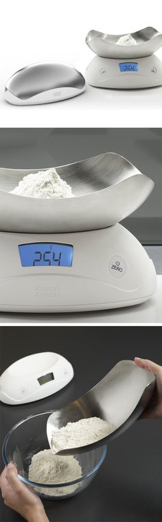 Shell Digital Kitchen Scale // the compact shell-shaped bowl inverts easy storage #product_design