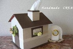 the tissue is the smoke.....lol★ハウス型の小物入れ・・・途中経過 - Handmade CREA