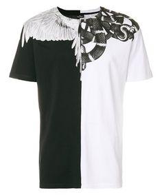 MARCELO BURLON COUNTY OF MILAN MARCELO BURLON MEN'S  WHITE/BLACK COTTON T-SHIRT. #marceloburloncountyofmilan #cloth #