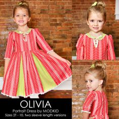 OLIVIA Portrait Dress by MODKID | Sewing Pattern | YouCanMakeThis.com