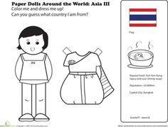 Worksheets: Paper Dolls Around the World: Thailand