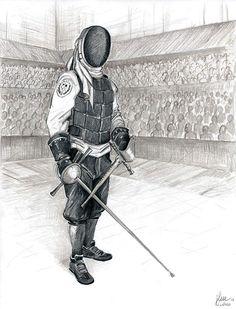 Dibujo para ilustrar cartel de escuela de esgrima antigua de Elda (Alicante) por José Lázaro
