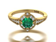 Natural emerald ring, Edwardian era inspired ring in Yellow gold, Antique style rings