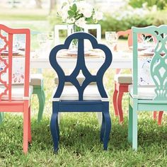 Our exclusive Piccadilly Dining Collection is simply bloomin creative. Always ready for the best outdoor parties, anytime. Sweetly sculptural and fairy tale pretty, this special collection has vintage appeal, but is updated in the freshest colors. Mix or match five unique chair options (four side chair styles, one arm chair style) as you like. Place them around the table of your choice: a classic rectangle style (designed with a hole for an outdoor umbrella), or a tea pa...