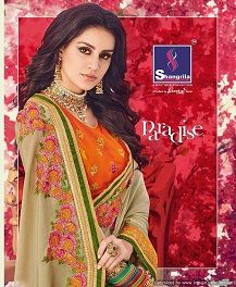 Specification : NAME :	Shangrila Paradise TOTAL DESIGN :	12 PER PIECE RATE :	 1150/- 0.00 FULL CATALOG RATE :	 13800/- 0.00 WEIGHT :	12 Type :	Wedding Sarees MOQ :	Minimum 12 Pcs. Fabric Description :	Fancy Fabric