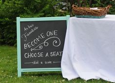 DIY chalkboard wedding seating sign -- Plaster & Disaster
