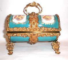 Sevres 19th Century Turquoise Blue Porcelain casket with Dore Bronze Mounts.