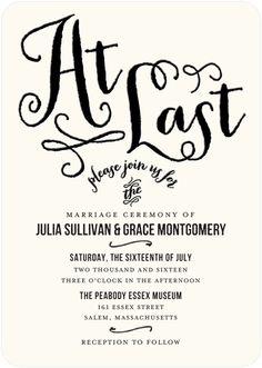 At Last - Signature Letterpress Wedding Invitations - Jenny Romanski - Black : Front