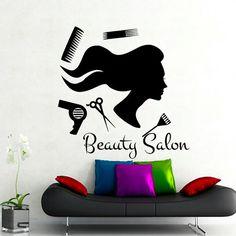 Wall Decal Beauty Salon Hair Salon Fashion Girl Woman by CozyDecal