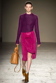 Gabriele Colangelo - Fall 2015 Ready-to-Wear - Purple knit top and magenta suede skirt with mustard bag and boots.