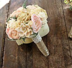 Romantic Wedding Bouquet -Small Natural Sola Flower Bridal Bridesmaid Bouquet, Keepsake Wood Bouquet, Shabby Chic Rustic Wedding