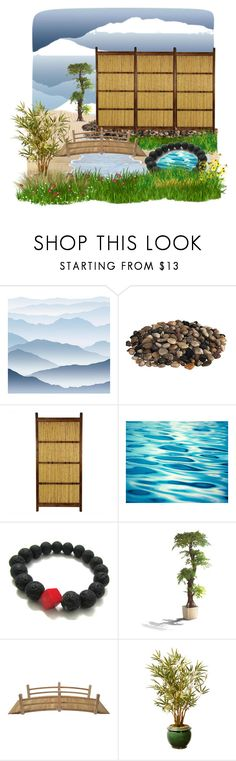 """Japanese inn's garden"" by hiroko-eirai ❤ liked on Polyvore featuring interior, interiors, interior design, home, home decor, interior decorating, York Wallcoverings and Stonegate Designs"