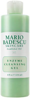 Enzyme Cleansing Gel from Mario Badescu Skin Care via mariobadescu.com:  BENEFITS: Our Best Selling Daily Cleanser. This non-foaming, gel cleanser thoroughly removes the day's makeup, dirt, and oil without overdrying the skin. Papaya and Grapefruit Extracts contain exfoliating Alpha Hydroxy Acids that help prevent dulling buildup that can cause blackheads and breakouts.