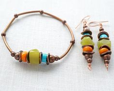 Summer Bracelet, Bohemian Bracelet, Turquoise Jade Coral,  Boho Jewelry, Rustic Gemstone Bracelet, Stackable Bracelet. Tribal Copper Metal by KapKaDesign on Etsy https://www.etsy.com/listing/238061543/summer-bracelet-bohemian-bracelet