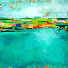'Patchwork Landscape' by Paula Prass Painting Print on Wrapped Canvas