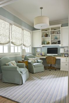 Imagine working in this office. It would not seem like work, would it? The colors are gorgeous. #home #decor