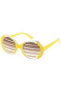 ROMWE   Diamante Lenses Yellow Sunglasses, The Latest Street Fashion #ROMWE
