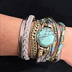 ! Beautiful turquoise/lavender wrap! Stunning bracelet! Intricate detail with marbled turquoise tone beading - braided matte and shiny cording with hints of light blue- with gold tone chains! Jewelry Bracelets