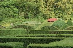 veddw-wales4-gardenista: 'The sloping terrain combined with the strong geometry of the hedges leads to unusual angles and planes in the garden, lending a sense of mystery and even disorientation as you pass through the maze-like parterres'.