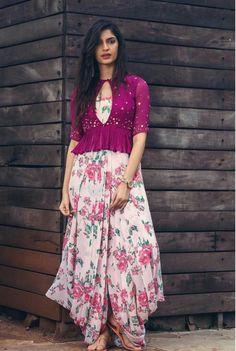 Floral Dotti Dress with Plum Peplum – Issa Studio Dress Indian Style, Indian Fashion Dresses, Indian Gowns Dresses, Indian Designer Outfits, Indian Outfits, Ethnic Fashion, 80s Fashion, Fashion 2020, Indian Wear