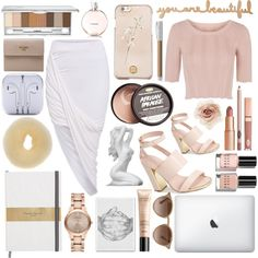 Nude and white classy look by kvanhuyssteen on Polyvore featuring polyvore, fashion, style, Topshop, Prada, Burberry, Cara, Tory Burch, Ray-Ban, Clinique, Guerlain, Chanel, Bobbi Brown Cosmetics, Faber-Castell and OKA