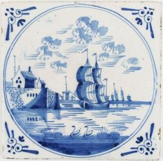Antique Dutch Delft tile in blue with a tall ship in a harbor, 17th century