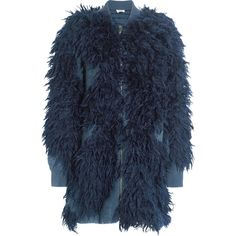 3.1 Phillip LimFaux Fur And Bouclé-knit Jacket (€1.260) ❤ liked on Polyvore featuring outerwear, jackets, navy, navy jackets, bomber jacket, navy blue fur jacket, fur jacket and bomber style jacket