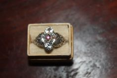 Vintage Sterling  Crystal & Garnet Ring by ThePickerGirl on Etsy, $28.00