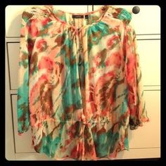 I just discovered this while shopping on Poshmark: Apt.9 Sheer Marble Patterned Top. Check it out! Price: $20 Size: S