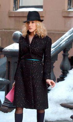 Carrie Bradshaw Wearing A Calvin Klein Silk Dress, Vintage Coat, Miu Miu Shoes And Christian Dior Bag, Season 6